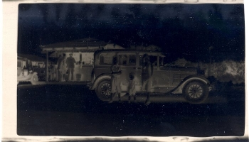 Original negative, black and white picture of a 1929 car.