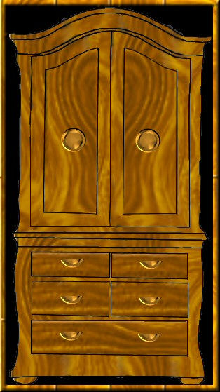 Colored version of clipart drawing of wardrobe.